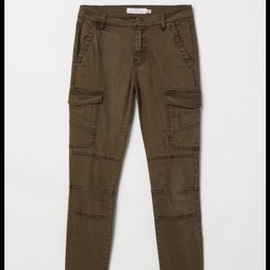H&M Lyocell-blend Cargo Pants Dark Khaki Green 4